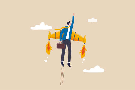 Ambition or aspiration to success in work, career growth or boost business development, entrepreneur launch new startup project concept, happy businessman flying high with jetpack rocket booster.