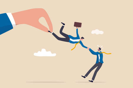 Talent war, recruitment competition for special skill candidate, HR human resource tug of war to get employee concept, big company hand fighting by pulling businessman candidate with current employer. 일러스트