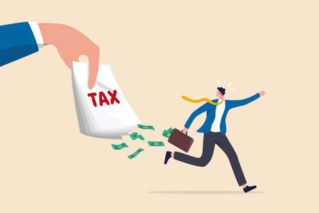 Tax evasion, illegal hide revenue and avoid paying government tax, fraud and money laundering or financial crime concept, frustrated businessman run away with full of money banknotes from tax bills. 일러스트