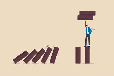 Risk management, protect business from disaster or crisis, leadership to avoid losing money, problem and failure concept, smart businessman company leader remove domino to stop domino effect collapse.