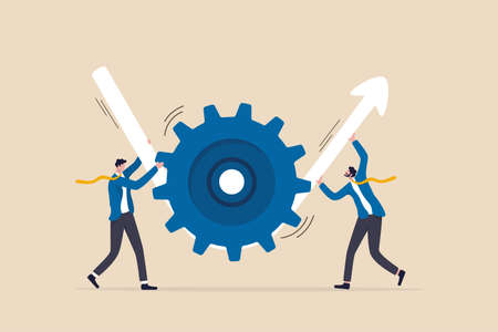 Business transformation or improvement, execution workflow to increase productivity and efficiency, investment profit concept, businessman partner help rotate gear cogwheel to make arrow rising up.