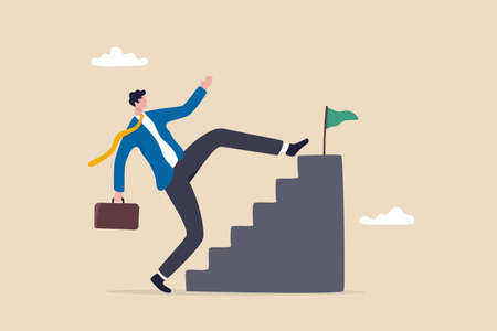Shortcut or advancement in career development or work to achieve target, skip step to reach goal or beginner mistake by try hard way to success concept, businessman skip stair step to reach target.