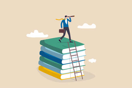Business skills for career opportunity, knowledge or education for future job, challenge and personal improvement, reading list concept, businessman climb up ladder on books stack for good vision. 일러스트