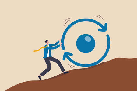 Consistency key to success, business strategy to repeatedly deliver work done, personal development or career growth concept, businessman pushing consistency circle symbol up hill with full effort.