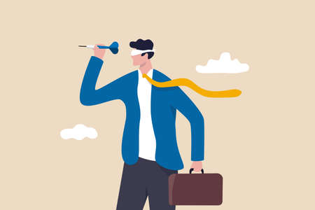 Unclear target or blind business vision, leadership failure or mistake aiming goal, untrained or uneducated management concept, confused businessman blindfold throwing dart. 일러스트