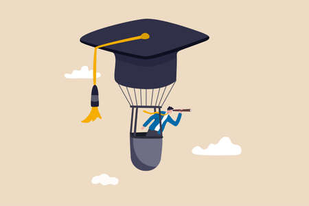 Education or knowledge to growth career path, working skill to success in work, learn or study new course for business success concept, businessman fly graduation mortar hat balloon see future vision.