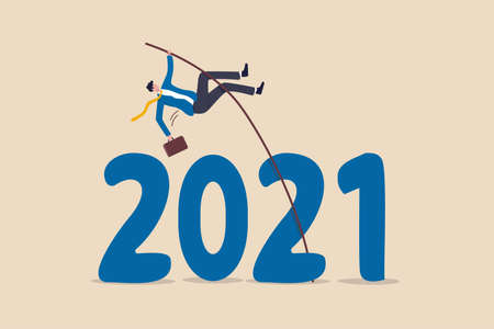 Overcome obstacle or solve business problem to pass hard time year 2021, pandemic causing economic recession concept, success businessman pole vault jumping over year number 2021. 일러스트