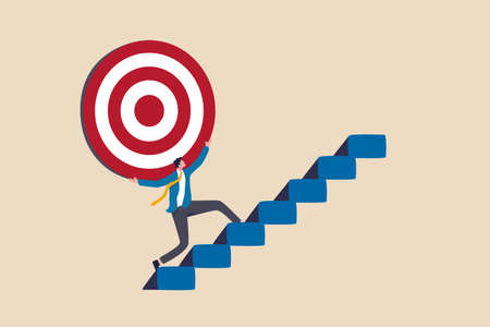 Effort and ambition to reach goal or target, challenge to win higher target, business mission or career concept, strong businessman carry big target on his shoulder walking up the stairs.