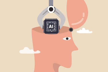 AI, Artificial Intelligence to think like human, machine learning technology to calculate and solve problem, robot and automation innovation concept, robot arm put AI processing chip into human brain.