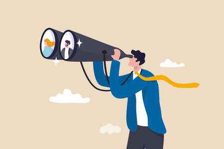 Searching for candidate, HR Human Resources find people to fill in job vacancy, finding customer or career opportunity concept, businessman HR look through binoculars to find candidate people.