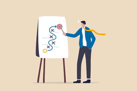 Business strategy planning, marketing tactic or winning strategy to achieve target, project blocker and solution to be success concept, smart businessman presenting business strategy on whiteboard.