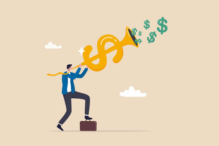 Investment opportunity, making money, profit or earning, FED central bank signal interest rate policy, financial stock market buy and sell signal concept, businessman investor blow dollar money horn.