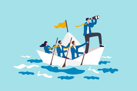 Leadership to lead business in crisis, teamwork or support to achieve target, vision or forward strategy for success concept, businessman leader with binoculars lead business team sailing origami ship 일러스트