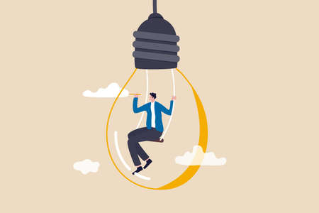 Creativity and imagination to create content, writer or creator inspiration for new idea, think and brainstorm concept, motivated man sitting on swing inside lightbulb idea using pencil drawing cloud. 일러스트