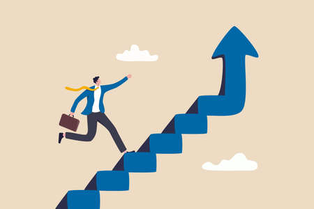 Improvement or career growth, stairway to success, growing income or improve skill to achieve business target concept, confidence businessman step walking up stair of success with rising up arrow. 일러스트