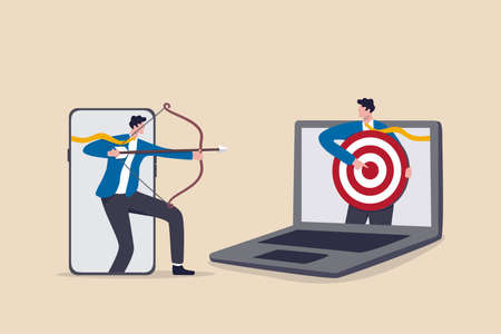 Remarketing or behavioral retargeting in digital advertising, online ads that will follow target audience across all using devices, businessman from mobile app aiming target and other computer laptop.