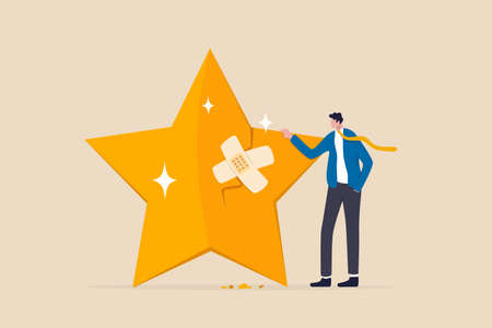 Reputation management, customer experience or rating, crisis management to repair or fix customer trust problem, credit score or satisfaction concept, businessman fix broken rating star with bandage. 일러스트