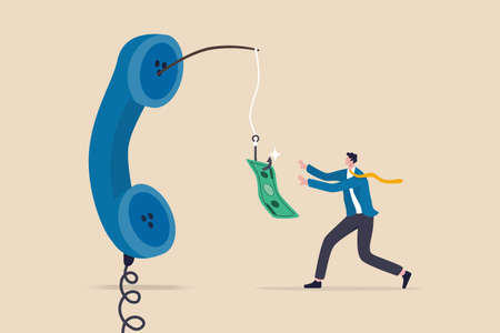 Phone scam, telephone call lying about fake investment, fraud to steal money from victim, financial crime concept, greedy man chasing easy money bait from thief phone call lying for paying scams. 일러스트