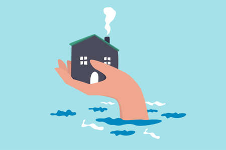 House insurance protection from disaster, safety and rescue from storm and flood, home care concept, big human hand helping house above flood water level protect from damage.