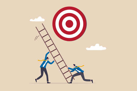 Develop ladder to success, set business goal, target, purpose and objective, partnership and teamwork to opportunity concept, business people team help set up ladder of success to reach target.