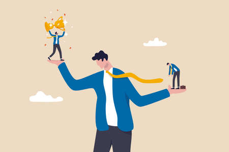 Social comparison anxiety, compare yourself to others, discourage of failure, loser or self motivation problem concept, sad depressed man stand on his hand compare himself with winning colleague. 일러스트
