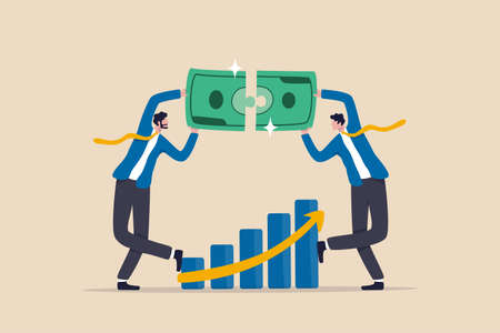 Wealth management, financial professional consultant solve money problem, planning and strategy for success investment, businessman wealth expert team solving money jigsaw with profit growth graph. 일러스트