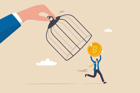 Bitcoin and cryptocurrency regulation, government try to control crypto or decentralized money, authority and legal for trading crypto concept, investor carrying bitcoin run away from government cage. Vecteurs