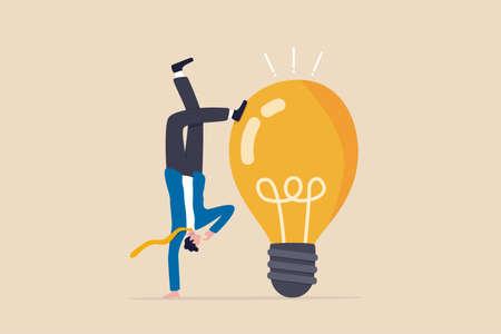 Think different to create unique idea, try another solution to solve business problem, creativity to develop and discover new thing, businessman try different pose to think with idea light bulb.