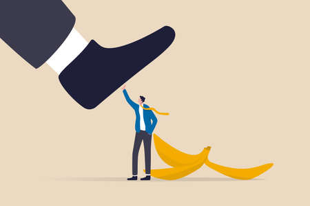 Avoid business mistake or failure, protect from accident or pitfall, insurance or warning in business risk and support in crisis concept, confidence businessman hero protect from slippery banana peel. 일러스트