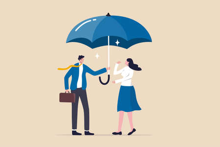 Good boss defend team for the right, cover or protection from business risk, help or support in career development concept, kindness businessman offer big umbrella to cover employee from bad weather.