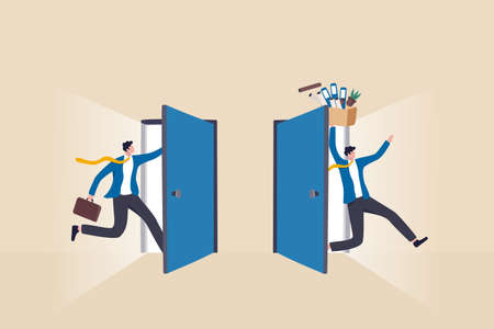 Staff turnover or job rotation in people management, human resources to manage to recruit new people for replacement concept, businessman new hire entering office while other resigned for new job. Vector Illustratie