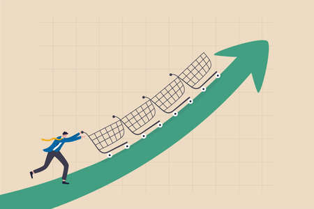 Increase sales or profit, purchasing power growth or consumer spending more money, marketing strategy concept, businessman sale manager push role of shopping cart trolley up rising arrow.
