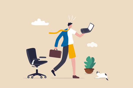 Hybrid work after virus crisis, employee choice to work remotely from home or on-site office for best productivity and result concept, businessman with hybrid cloth work both from home and office.