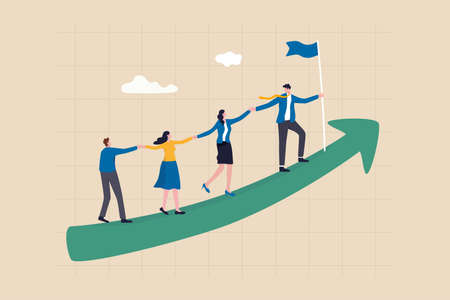 Teamwork cooperate together to achieve target, leadership to build team walking up rising growth arrow, career development concept, businessman leader holding hand with employee walking up arrow graph 일러스트