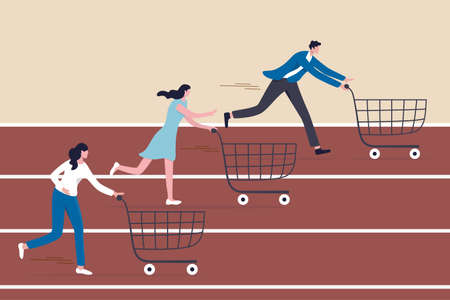 High demand products, sale season e-commerce discount website or marketing campaign drawing customers to buy product concept, consumer people with shopping cart compete in running race tracks. 일러스트