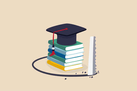Student loan pitfall, knowledge cost and expense or big debt to pay off for education, high degree ego concept, graduation hat mortar board on book stack being saw to fall down.