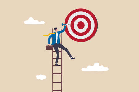 Success ladder, aspiration to achieve target, business goal or work purpose, aim for perfection concept, businessman climb up ladder high into the sky to aiming for perfect bullseye target dartboard. 일러스트