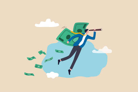 Financial success, make profit from investment opportunity, money management and wealth preservation concept, rich businessman flying with money banknote wings using telescope to see future vision. 일러스트