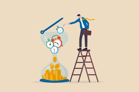 Time is money, long term investment return, retirement pension fund concept, smart businessman investor putting time pieces, clock, alarm clock and timer into sandglass falling to money profit return. 일러스트