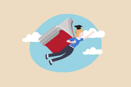 Education or academic on personal development, knowledge to empower career growth and improve business skill concept, success graduated student flying with book wings in the sky aim for bright future.