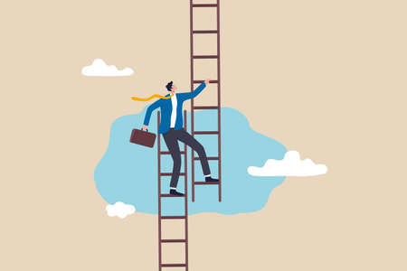 Change job to get growth opportunity, new career path development, transform business to improve for success or achieve target concept, confidence businessman climb up ladder to change to new path.