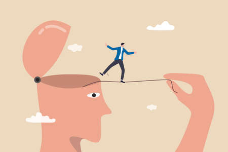 Challenge yourself, adversity or motivate self to overcome difficulty, practice or self development to be success concept, man pull the rope and let himself acrobat walk to achieve target.