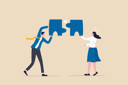 Mismatch or mistake, wrong business decision or failure of incorrect solution, mismanagement or invalid choice concept, confused business people putting mismatch or wrong jigsaw puzzle together.