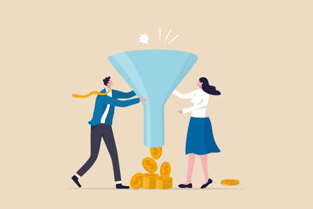 Marketing or sale funnel, conversion rate or customer buying product from advertising campaign, online ads or purchase rate concept, business people marketer holding funnel with flow of purchase money 일러스트