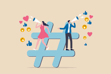 Social media marketing, online digital advertising campaign, hashtag followers or social strategy concept, marketer advertising team announce promotion on hashtag sign with social feedback. 일러스트