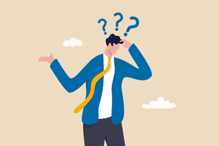 Memory loss, forget things to do or dementia cannot remember anything, confusing brain problem or cognitive illness concept, confused businessman in trouble losing memory thinking what he forget. 일러스트