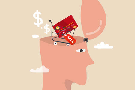 Consumerism, wanting mind or desire to buy and purchasing more, buying therapy or shopping addiction concept, human head with shopping cart with credit card and sale price tag in his brain.