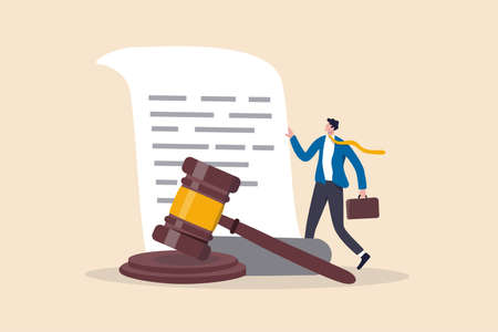 Legal document, attorney or court professional office, law and judgment approval paper concept, mature lawyer holding legal document with a gavel hammer symbol of court or judgement.