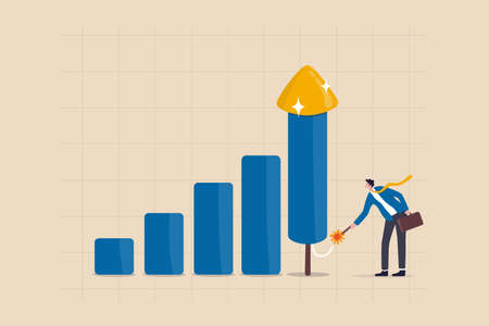 Grow your business, boost investment profit or earnings, increase growth or economic boom, career development concept, smart businessman ignite firework rocket bar graph to increase company growth.