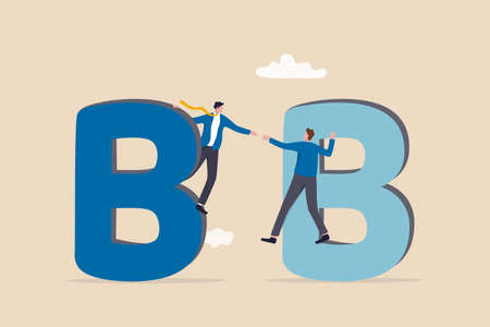 B2B business to business commerce, enterprise deal between corporate, supply chain or company buy, sell purchasing with credit concept, businessman sales company owner shaking hand on alphabets B.